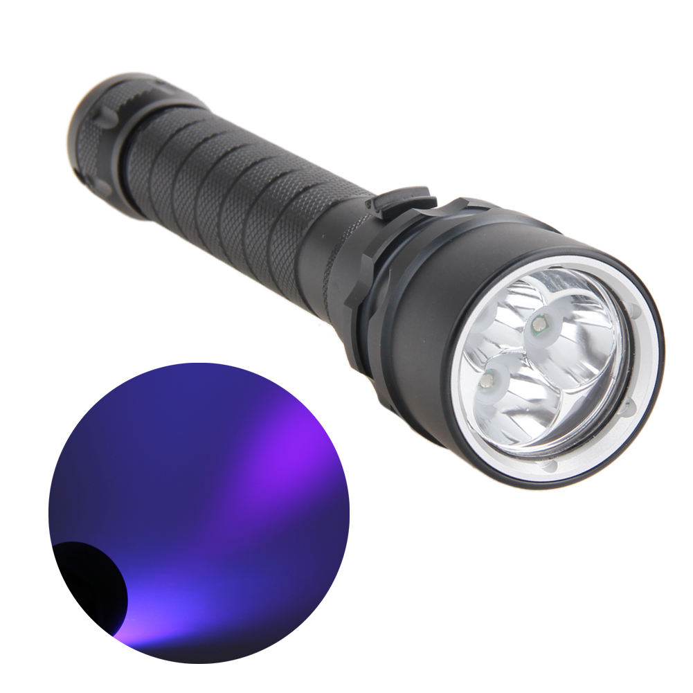 10W 395-400nm Flashlight 3x XPE LED Flashlights Aluminum alloy UV Light LED Underwater 100m Scuba Diving Flashlight Torch