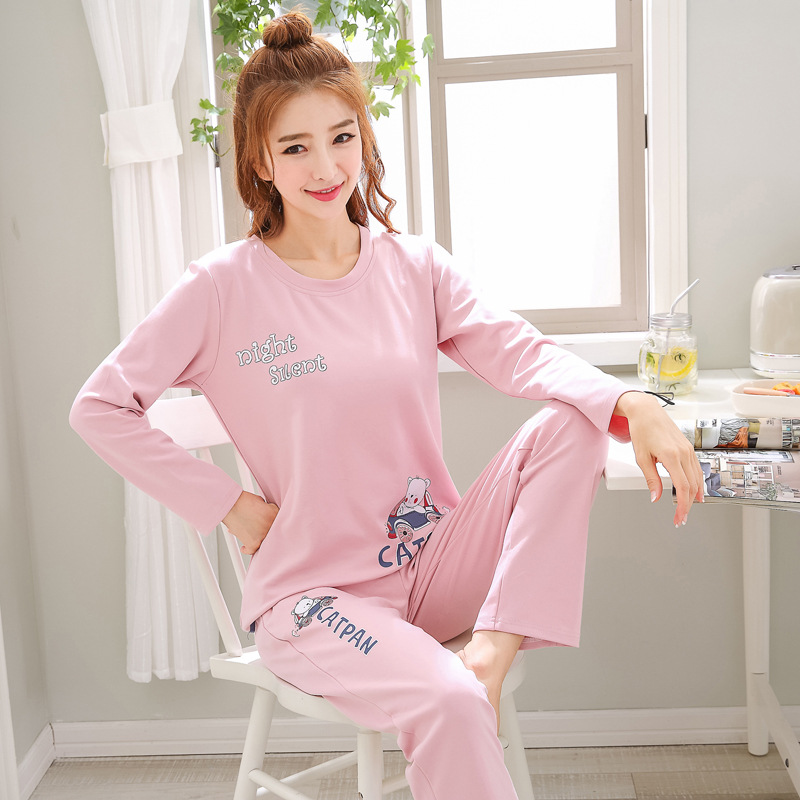 2019 Women Pajamas Sets Autumn Winter New Women Pyjamas Cotton Clothing Long Tops Set Female Pyjamas Sets NightSuit Mother Sleep 116