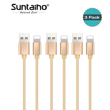 3pcs/lot 8 Pin USB Cable for iPhone X 8 7,Suntaiho 2A Fast Charging Adapter for iPhone 6 6s Plus 5 Data Cable Phone Charger Wire