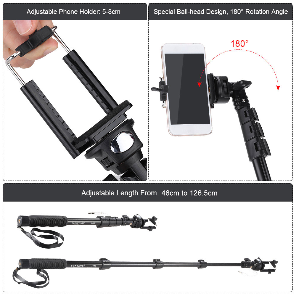YUNTENG YT 1188 Selfie Stick Wired Cable Aluminium Monopod w/ Phone Clip  for iPhone Samsung IOS Android Smartphones/DSLR Cameras-in Selfie Sticks  from ...