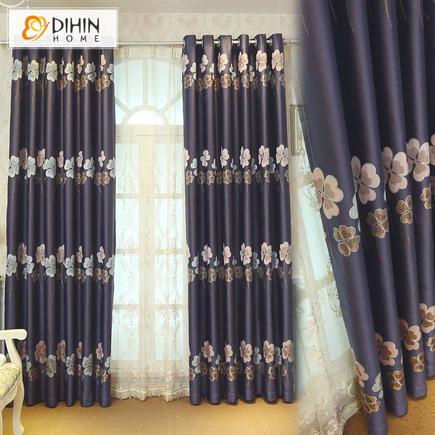 Pastoral Leaf Style 3 Colors Embroidered Blackout Curtain For Living Room Window  Curtains For Bedding Room
