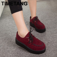 Autumn Creepers Platform Shoes Woman Flats Female Womens Girl Footwear Women Black Wine Red Thick Flat Heel Slip Soft Shoe