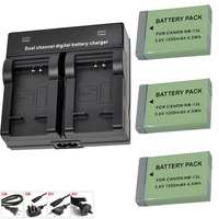 3x NB 13L NB13L Lithium Li ion Battery+ Dual Charger for Canon PowerShot G5 X G5X G7 X Mark II G7X G9 X G9X SX720 HS Camera