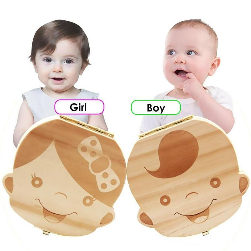 Wooden Male And Female Baby Breast Teeth Box Hair Umbilical Cord Teeth Left In The Collection Box Baby Souvenir Box