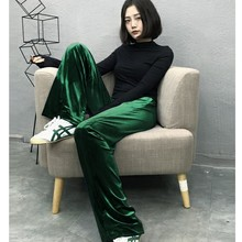 2017 autumn and winter womens large size Velvet wide-legged pants female Retro plus