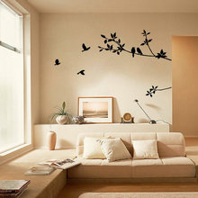 Tree Branch wall sticker Black Bird Art wall stickers for kids rooms Removable Vinyl Decal bedroom decor adesivo de parede(China)