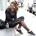 Compress See Through Leggings Women Hollow Net Yarn Splicing Black Leggings Skinny Elastic Fitness Workout Pants Leggins	XL