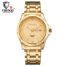 De luxe CHENXI Mens Watch Or En Acier Inoxydable Bracelet À Quartz Montre pour Homme D'or Robe Casual Cadeau Horloge Étanche