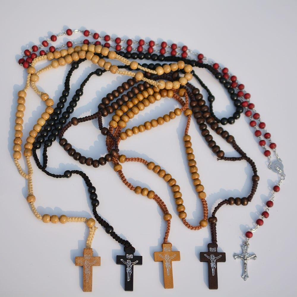୧ʕ ʔ୨1 unid madera Rosario Católico Cruz oración padre Cuentas ...