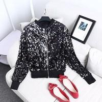 Women Fashion Gold Sequin Basic Jacket Silver Glitter Coat Bling Jazz Coat Zipper Casual Metallic Outerwear