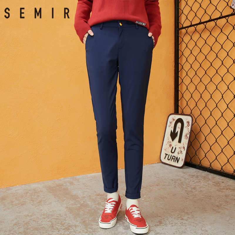 Semir Celana Wanita 2018 Musim Dingin Pensil Celana Slim Kasual Perempuan Stretch Celana Hitam Sembilan Sen Celana Fashion Keren