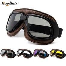 Nuoxintr мотоциклетные очки s шлем с линза Дымчатого Цвета мотоциклетные очки Винтаж пилот байкер кожа мото велосипед очки ATV