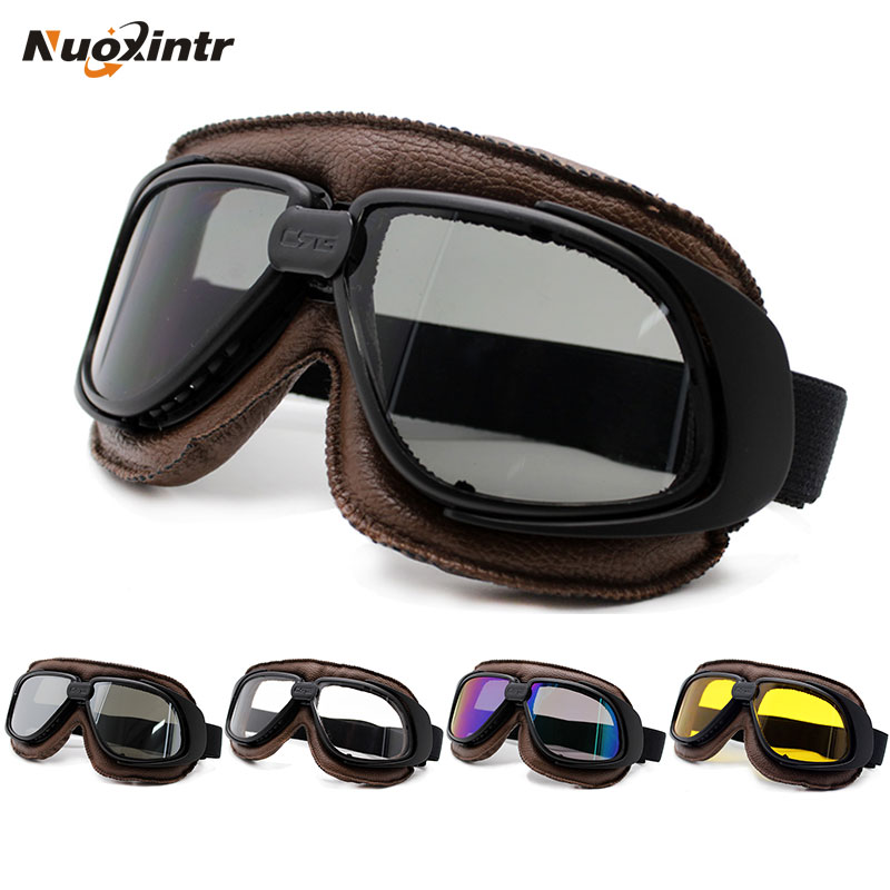Nuoxintr Motorcycle Goggles Helmet With Smoking Lens Motorcycle Goggle Vintage Pilot Biker Leather Moto Bike ATV Goggle