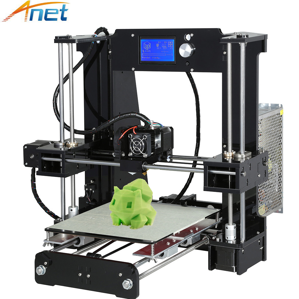 Upgrade Anet A6 Acrylic Frame Big Size Reprap Prusa i3 3D Printer DIY Kit with Filament + 16G SD Card + Tools big size 220 220 240mm reprap prusa i3 3 d printer diy printer power supply by 110v 220v 1roll filaments 0 5kg and 16g sd card