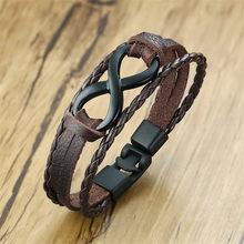6cb3720d1e24 LETAPI Vintage 8 infinito encanto pulsera de cuero para mujer de los hombres  muñeca de cuerda trenzada brazalete pulsera
