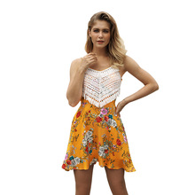 Womens New Sexy Sling Dress Sleeveless floral Printing dress women summer party dresses bandage N30D