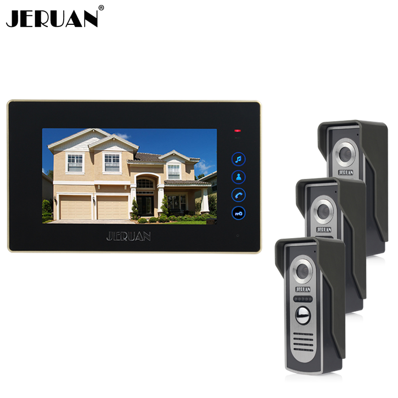 JERUAN Home wired 7 inch color screen touch key video door phone intercom system + 700TVL COMS Cameras open the door In stock jeruan home wired 7 inch tft color video door phone intercom system 700tvl rfid access ir night vision coms camera cathode lock