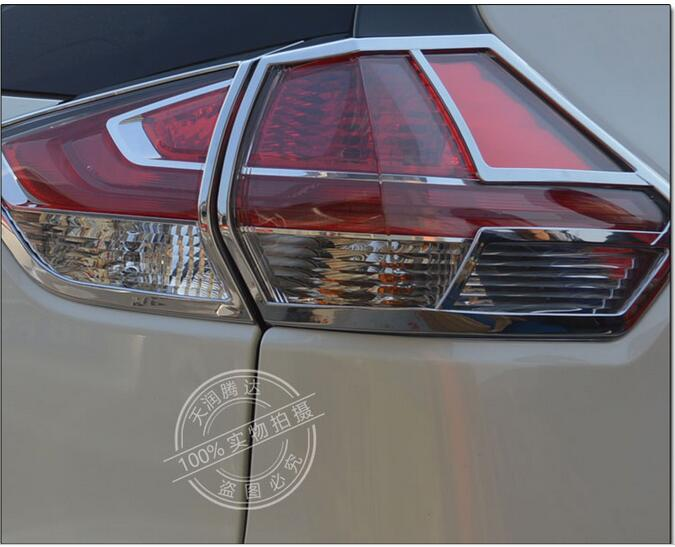 ABS chrome Car Accessories Rear Tail-light Lamp Shade Frame Trim Protector For Nissan X-Trail X Trail rogue T32 Emblems 2015 abs chrome tail light covers trim rear lamp cover for nissan qashqai 2015 car styling stickers accessories free shipping