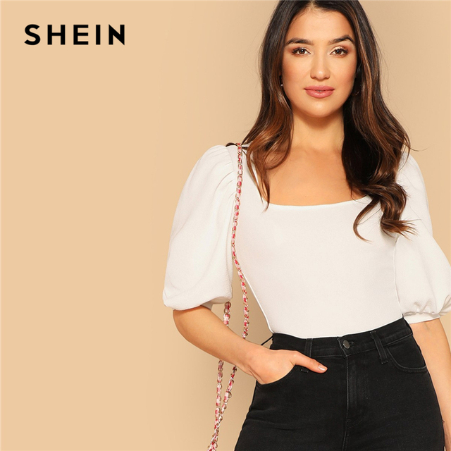 SHEIN Puff Sleeve Solid Fitted Tee Elegant Square Neck 3/4 Sleeve 2019 Summer Tops Modern Lady Women Plain Casual T-shirt 1
