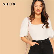 6ad5d856013b SHEIN White Puff Sleeve Solid Fitted Tee Elegant Square Neck 3/4 Sleeve  2019 Summer Tops Modern Lady Women Plain Casual T-shirt