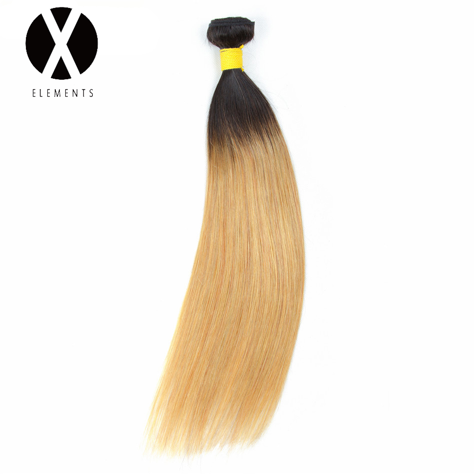 X-Elements Pre-colored Human Hair Bundles T1B/27 Straight Hair Weaves 1 Bundles Peruvian Non-Remy Hair Extensions