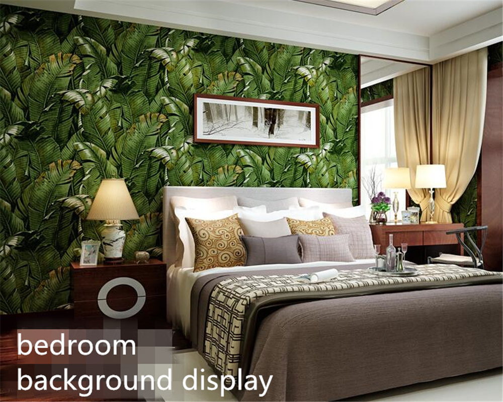 Beibehang High quality tropical green plantain Banana leaves fashion 3D wallpaper roll Wall Sticker wall paper home decor beibehang high quality tropical green plantain banana leaves fashion 3d wallpaper roll wall sticker wall paper home decor