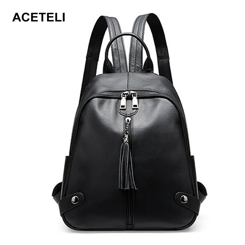 ACETELI brand women backpack genuine leather school backpacks for teenage girls shoulder bag large capacity travel bags nigedu brand genuine leather women backpacks large capacity female school bag laptop backpack girls shoulder travel mochila