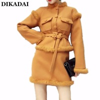 Winter Long Sleeve Woolen Jacket Dress Women High Waist Sexy Patchwork Fur Fax Two Piece Mini