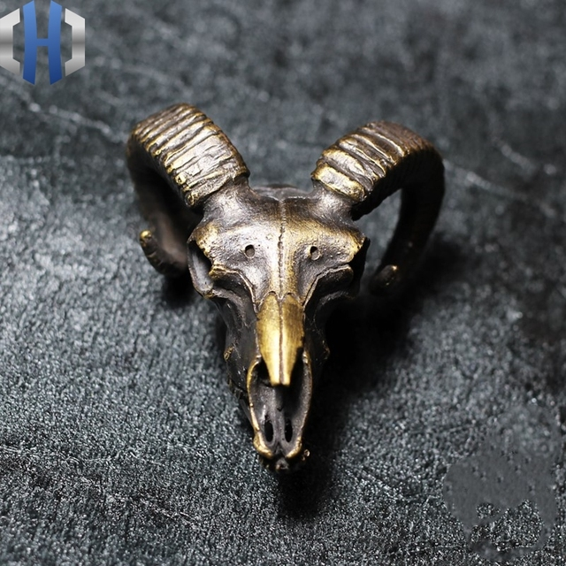 Original 925 Silver Brass Skull Large Pan Goat Skull Hanging Necklace Key Link Dark For Men And Women
