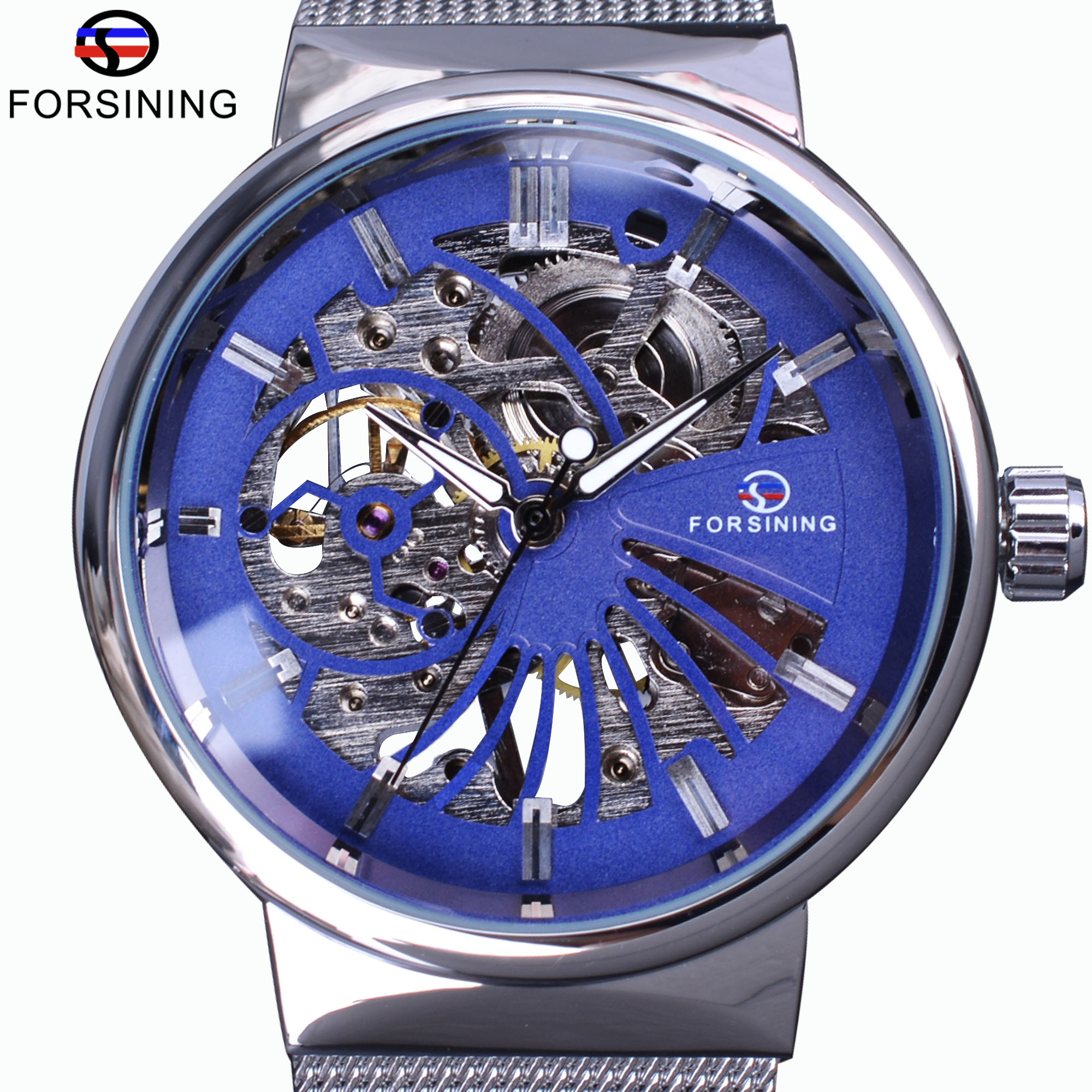 Forsining Classic Blue Dial Silver Steel Fashion Casual Transparent Case Mens Mechanical Watches Top Brand Luxury Skeleton Clock forsining 2017 dragon series transparent silver case mens watches top brand luxury mechanical skeleton watch male wrist watches