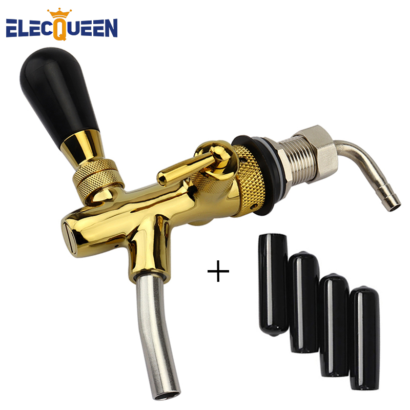 High quality homebrew kegging tap Beer tap faucet Adjustable Faucet golden plating with 4pcs Tap caps