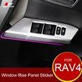 Coche Que Labra Cubierta de Interruptor de La Ventana Para Toyota RAV4 Cromo Ventana Panel de Botones Cubierta de Pegatinas Para RAV4 2013-2016 2017 Accesorios del coche