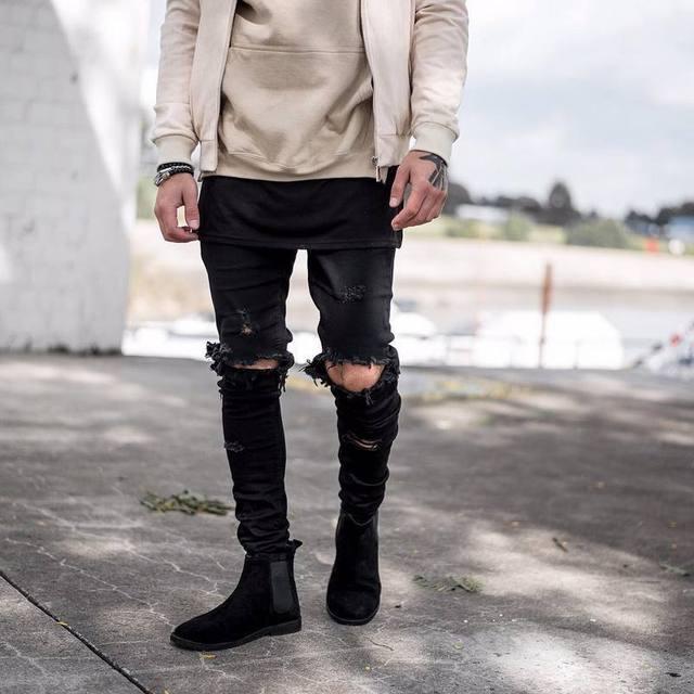 kanye west represent Same jeans men light blue/black designer rock star destroyed ripped skinny distressed jeans MA163