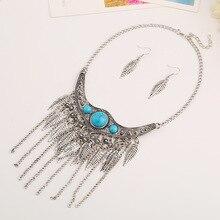 LZHLQ 2017 Fashion Bohemia Ethnic Style Maxi Statement Necklace Women Jewelry Leaf Tassel Vintage Collares Collier Femme