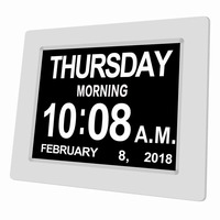 8 Language Digital Alarm Clock Extra Large Non Abbreviated Electronic Day Clock Memory Loss Elderly & Vision Impairment 8 inch