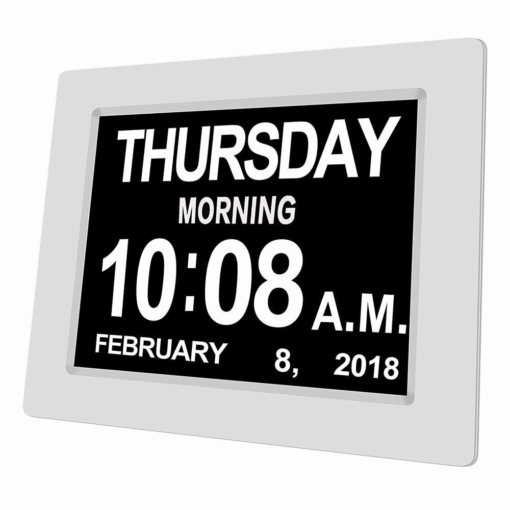 8 langue Numérique D'alarme Horloge Extra Large Non-Abrégé Électronique Jour Horloge Mémoire Perte Personnes Âgées et Déficience Visuelle 8 pouces