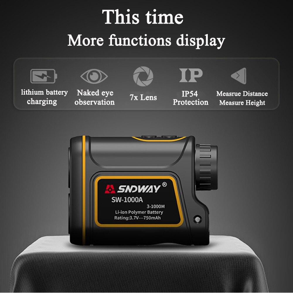 Sndway 1000m Laser Rangefinder 7X Monocular Telescope Laser Distance Meter Golf hunting laser meter tape Laser