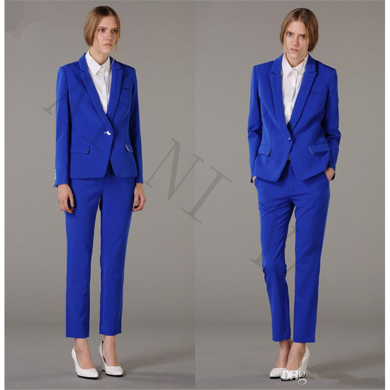 Jacket+Pants Women Business Suits Royal Blue Single Breasted Female Office Uniform Evening Formal Ladies Trouser Suit