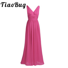 TiaoBug New Arrival Special Occasion Dresses V Neck Elegant 2017 Women Ladies Bridesmaid Princess Chiffon Summer Long Dresses