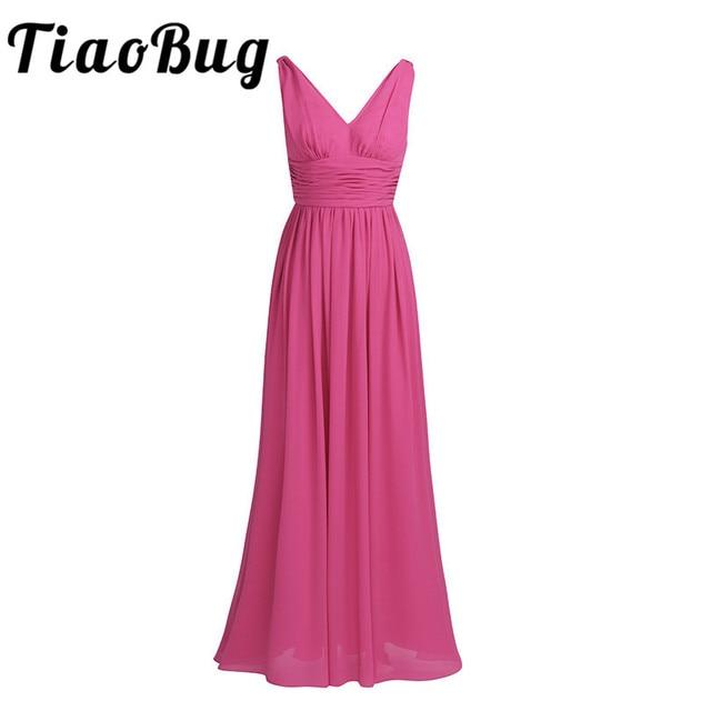 TiaoBug New Arrival sukienki na specjalne okazje V Neck eleganckie 2020 kobiety panie druhna księżniczka szyfonowe, letnie sukienki długie
