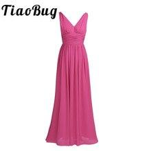 Tiaobug 새로운 도착 특별 행사 드레스 v 목 우아한 2020 여성 숙녀 들러리 공주 쉬폰 여름 긴 드레스