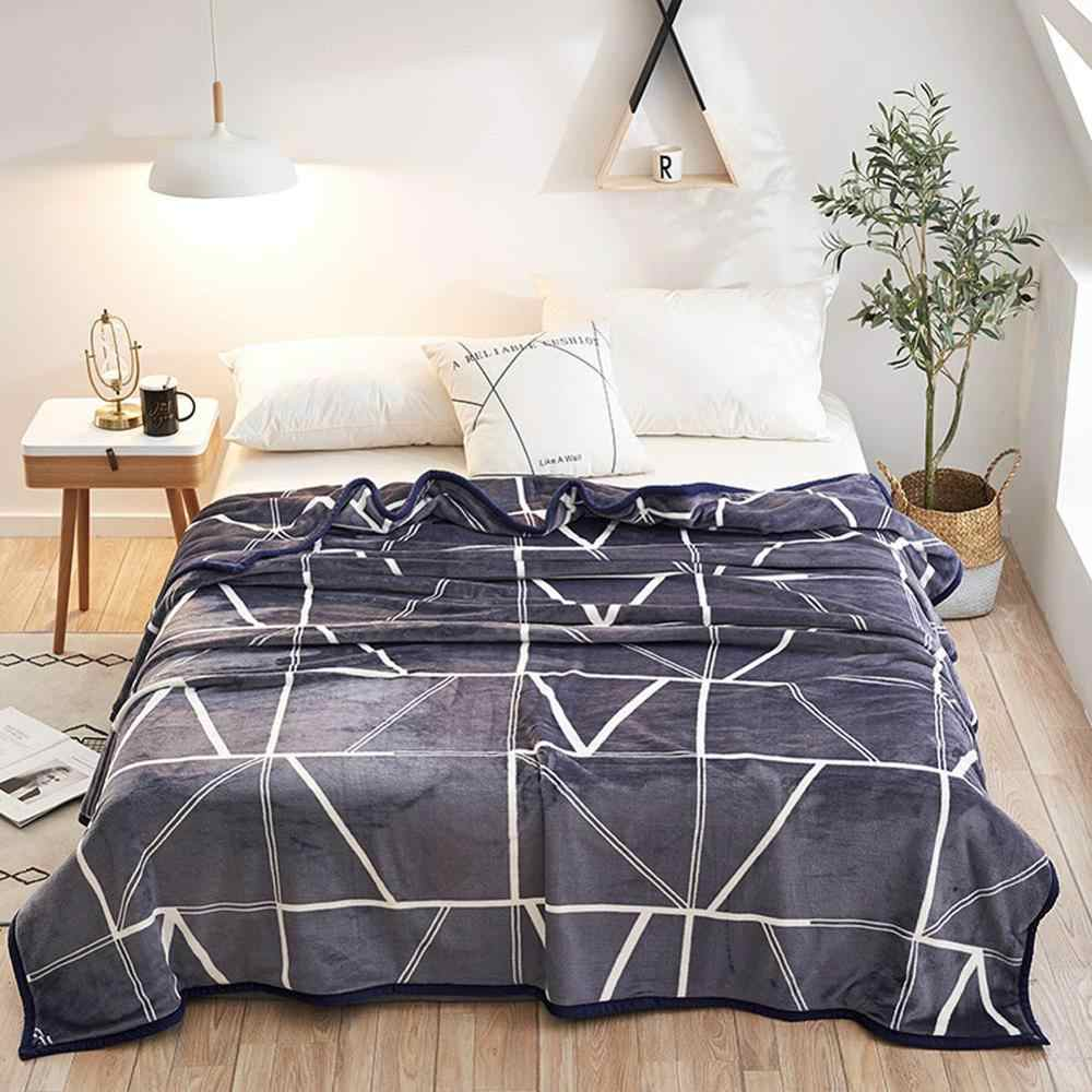 2019 White Lines Grey Brief Soft Print Double-side Blankets Throws Flannel Fleece Microfiber Plaids Bedsheet Polyester