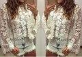 New Women Clothing Lace Blouse Flare Sleeve White Tops Blusas Femininas 2017 Blusa Tops Female Shirts Plus Size