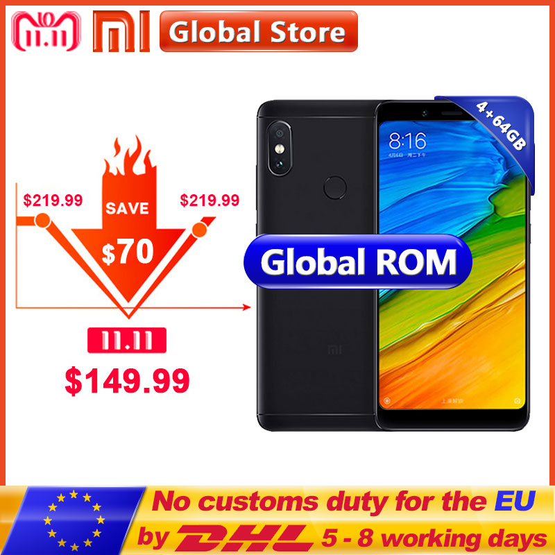 "Original Xiaomi Redmi Note 5 4GB 64GB Mobile Phone Snapdragon S636 Octa Core 4000mAh MIUI9 FullScreen 5.99"" 2160*1080 12.0+5.0MP"