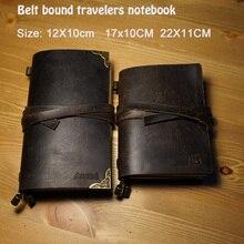 Hatidry Cuaderno de cuero genuino con cinturón para diario del viajero, libreta de mano vintage, relleno de espiral, suministros escolares