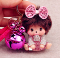 Bell Monchichi Key Chain Sleutelhanger Strass Kiki Keychain Keyring Cute Women Bag Charm Leather Strap Porte Clef M147