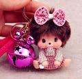 Bell Monchichi Key Chain Sleutelhanger Strass Kiki Keychain Keyring Cute Women Bag Charm Leather Strap Porte Clef M147