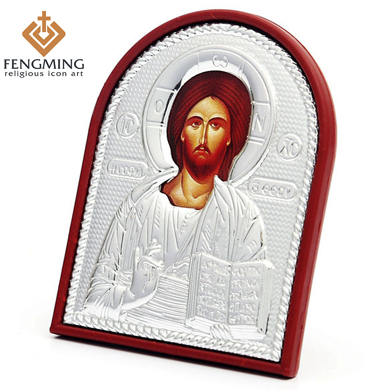 3pcs/set different size Metal silver religious icon on Plastic of Jesus Christ byzantine art orthodox church supplies