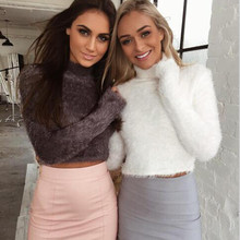 2016 New Autumn and Winter Women Wool Cropped Jumpers Fluffy Mohair Sweater Mujer Pullover Sweaters Crop Top Black Pink