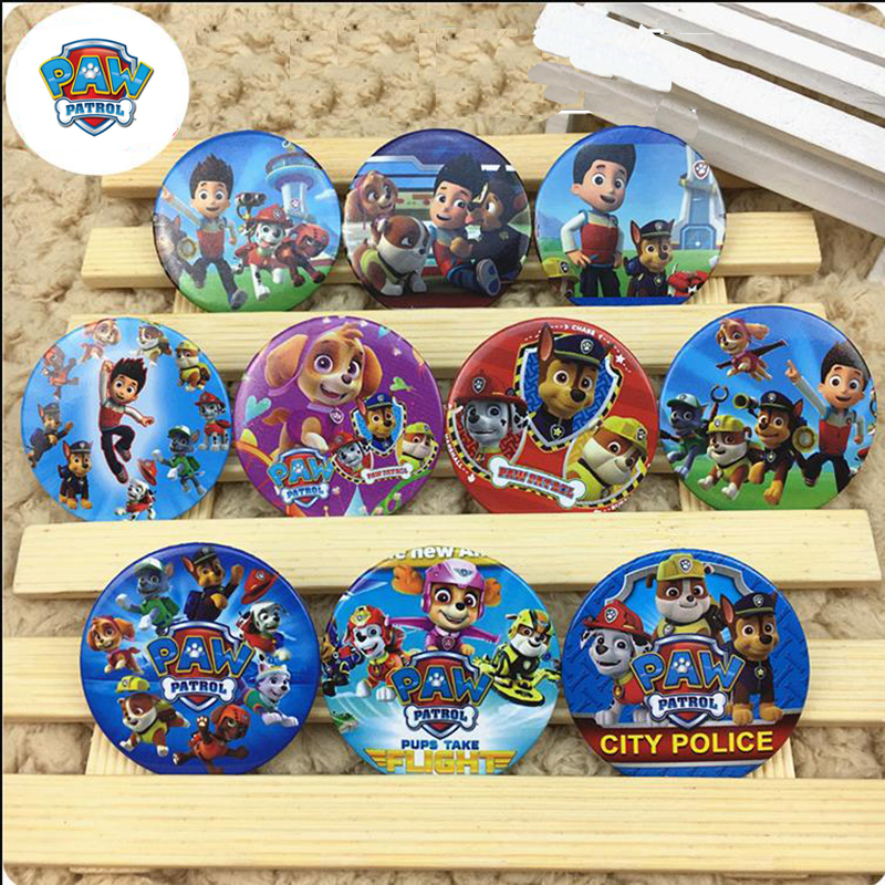 Paw Patrol Birthday Party Decoration Supplies Dog Cartoon Small Badges Wrought Iron Badge Tinplate Toys For Children 2D23